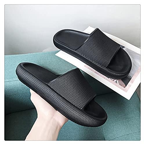 LSDTZ Verano Inicio Hombres Zapatillas Zapatos Antideslizantes Baño Chanclas Chanclas Hombres Interiores Zapatillas De Plataforma Negras (Color : Black, Size : 40yards)