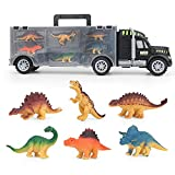 Dinosaurio Transporter Truck Camión Dinosaurio Carro de transporte con 6 juguetes de dinosaurio / 6 juguetes de animales simulación de dinosaurios figuras Animal para niños niñas juguetes