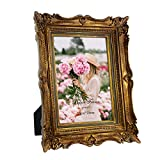 5x7 Vintage Gold Picture Frame with Glass Front, 5 by 7 Ornate Antique Wedding Picture Frame for Bedroom, Living Room, Office, Displays Horizontally or Vertically On Tabletop