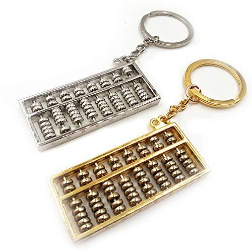 Generisch Abacus Pendentif Clé Doré Argent Abacus à partir de métal Keychain Keypendant Porte-clés en métal Sac Carkey Pendentif Accessoires Petit cadeau 2 couleurs 2 pcs