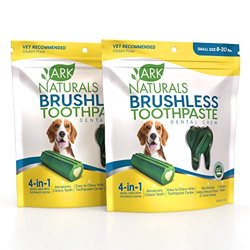ARK NATURALS Brushless Toothpaste Dog Dental Chews for Small Breeds Vet Recommended for Plaque Bacteria amp Tartar Control 2 Pack