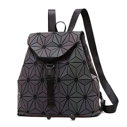 Mochila geométrica para mujer con cambios de color para escuela, mochila holográfica reflectante