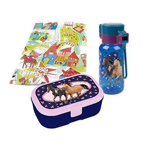 Lutz Mauder Brotdose und Trinkflasche Pferde 400ml lila Geschenkset für Kindergartenkinder Schulkinder Geschenkverpackung