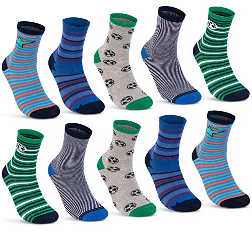 10 Paar Kinder Socken Jungen und Mädchen Baumwolle Kindersocken 54375 (31-34)