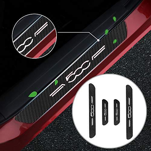 Battitacco Auto Esterno Batticalcagno per Spider 500/C/X/L Adesivi delle Soglie delle Porte in Fibra di Carbonio Bianco 4 Pezzi