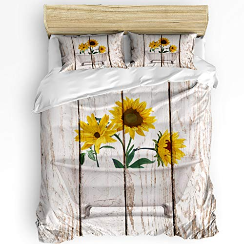 Bedroom Quilt Cover Set Twin Size 3 Piece with 1 Duvet Cover and 2 Pillow Case - Vintage Wooden Farm Sunflowers in Bathtub - Comfy Microfiber Fabric Beding Set for Men and Women's Best Modern Style