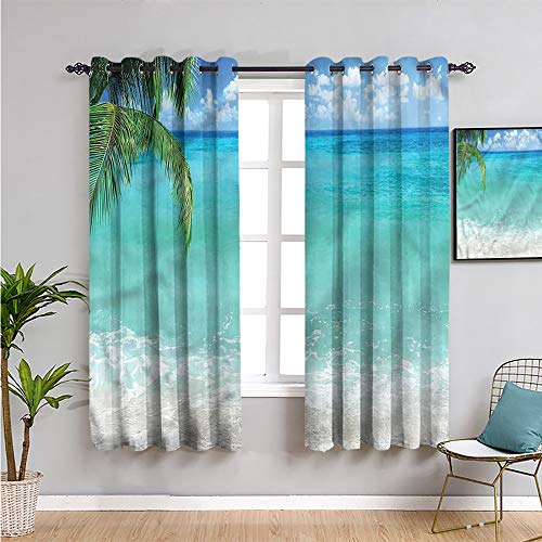 Ocean Blackout Curtains for Bedroom, Curtains 63 inch Length Exotic Lebanon Beach Africa Repeatable use W63 x L63 Inch