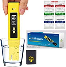 Digital Ph Meter Tester 0.01 PH Accuracy Water Quality Tester with ATC 0-14 Measurement Range with Plastic Box for House Water,Hydroponics,Aquariums,Pool,4 pH Buffer Packets Calibration(with Battery)