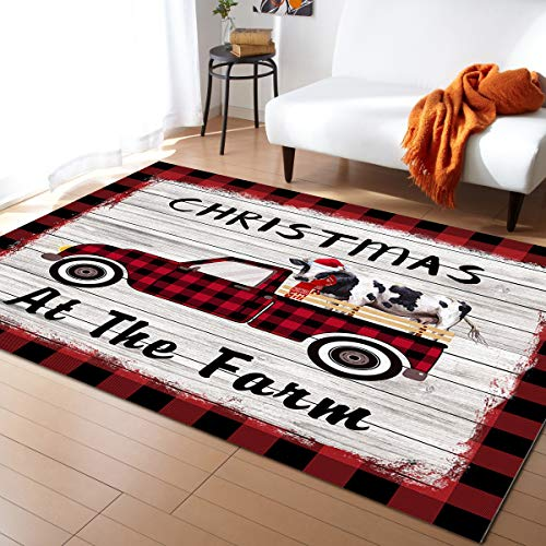 Area Rug Runner 5x7ft, Merry Christmas Cow Truck Outdoor Runner Rugs Carpet for Hallway/Bedroom/Kitchen/Living Room/Indoor, Low Profile Pile, Non Slip, Farmhouse Animal Red Plaid Wood