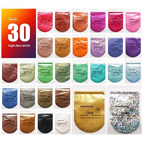 MENNYO Pigmentos para Resina Epoxi, 10g*30 Colores Pigmentos en Polvo, Mica en Polvos para Hacer Slime, Jabón, Pintauñas, Sombra de Ojos Cosmética, Bomba de Baño, Esmalte de Uñas
