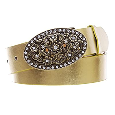 """1 1/2"""" Women's Snap On Belt With Oval Perforated Engraved Crystal Rhinestone Western Floral Buckle, Gold 