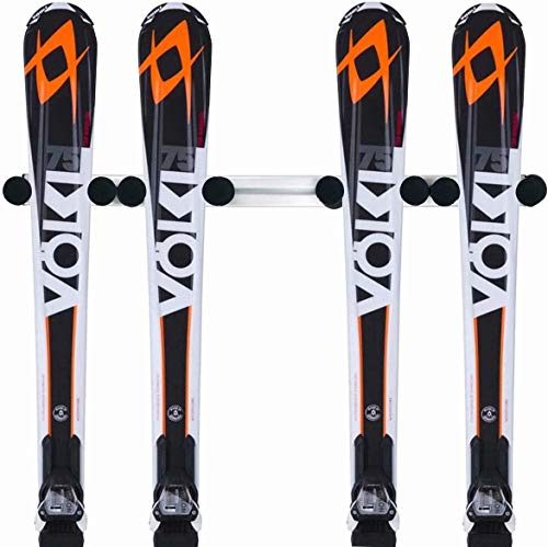 Jranter Aluminum Heavy Duty Ski and Snowboard Wall Mount Rack, for Home Storage Shop Display Stand Horizontal Indoors Outdoors Premium Wall Garage Skis Mount