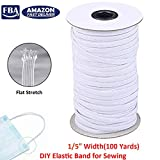 """Elastic Band for Sewing, 100 Yards/Roll Braided Elastic Cord for Jewelry Making, Beading, DIY Craft, Masks (White 1/5"""" Width)"""