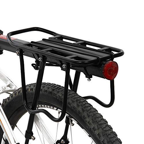 PopHMN Portaequipajes para Bicicleta, Parrilla Trasera Ajustable para Bicicleta, Asiento Trasero de aleación de Aluminio con Reflector, Capacidad de 50 kg para la mayoría de Las Bicicletas