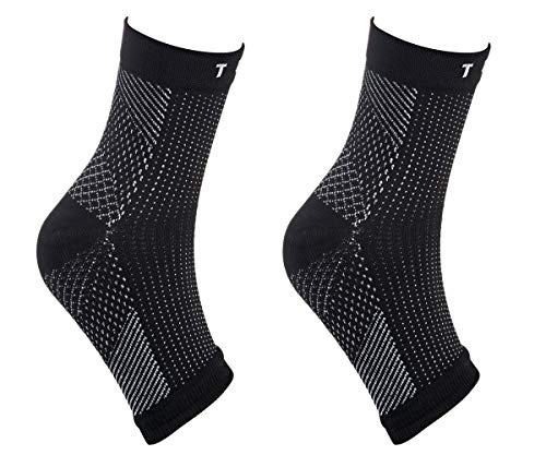 Ankle Compression Sleeve, Plantar Fasciitis Sock for Swelling & Foot Pain+A RFID Card Sleeve (S/M)