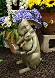 "Ebros Large 13""Tall Aluminum Whimsical Story Time Mother Rabbit Reading Book To Her Kit Garden Statue Animal Fairy Tale Nursery Rhymes Rustic Cottage Outdoors Lawn Pool Patio Home Decorative Figurine"