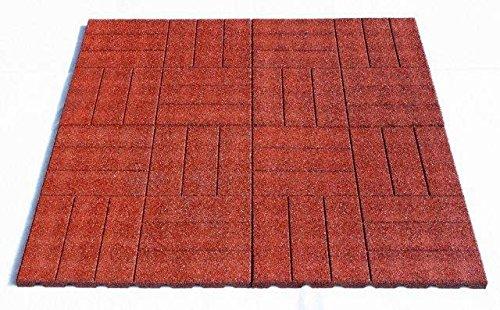 Fallschutzmatten Set 1m² TINA (Stärke 25mm), Granulatmatte, Fallschutzmatte, Bodenmatte, Sportmatte Farbe: Rot