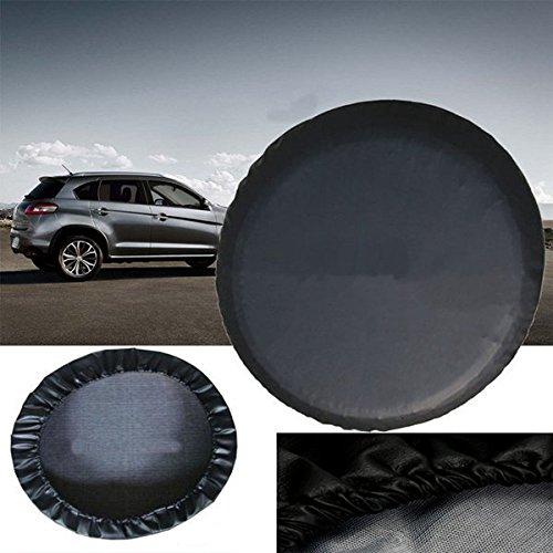 JenNiFer Couverture De Pneu De Roue De Secours en Cuir Noir De PVC De 15 Pouces De Taille Imperméable M pour La Voiture Universelle De Jeep SUV
