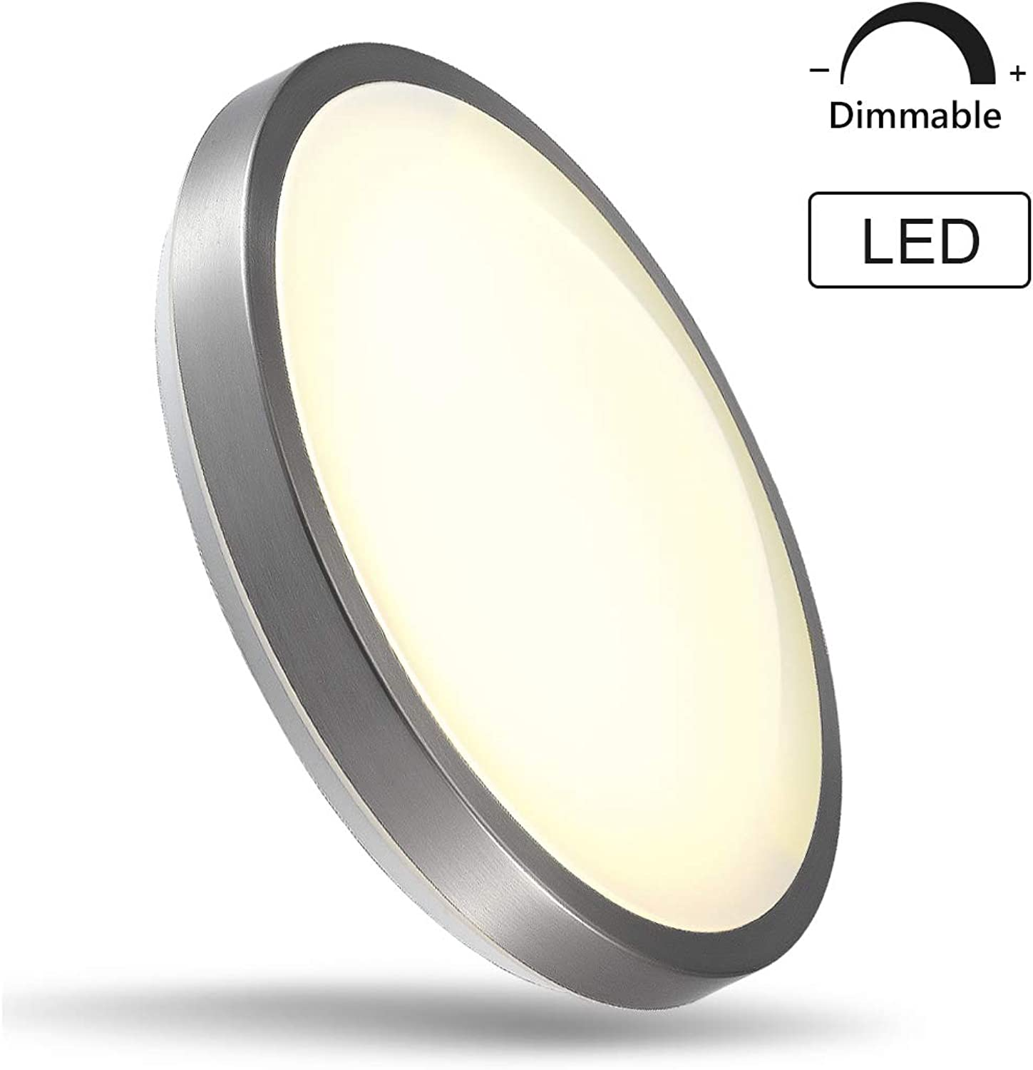 CORSO 16  Round LED Flush Mount Ceiling Light Modern Dimmable Fixture for Living Bed Dining Room, Stepless Dimming, 23W(180W Equivalent), 3000K Warm White, Brushed Nickel Finish