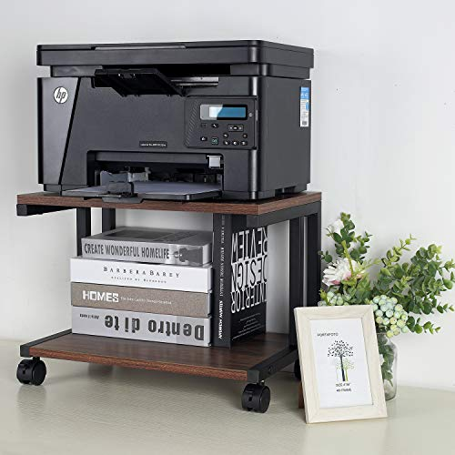 IPARTS EXPERT Desktop Printer Stand, Mobile Printer Stand Organizing Storage with 4 Rolling Wheels