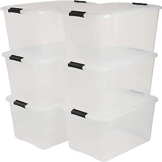 Iris Ohyama, Boîtes de Rangement Empilables avec Fermeture Clic - Top Box, Set de 6, 45 L, Transparent