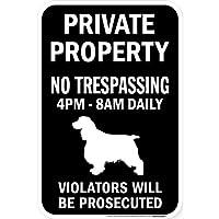 PRIVATE PROPERTY ブラックマグネットサイン:スプリンガースパニエル シルエット 英語 私有地 無断立入禁止