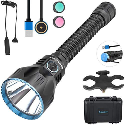 Olight Javelot Pro linterna 2100 lúmenes/1080 metros Cree XHP35 HI NW LED potente linterna USB magnético recargable con estuche de batería TIDUSKY + interruptor remoto + soporte, negro