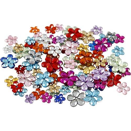 Strass 6+10+12mm, couleurs asstd, fleurs, 252asstd