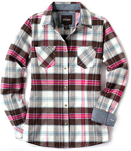 CQR Women's Plaid Flannel Shirt Long Sleeve, All-Cotton Soft Brushed Casual Button Down Shirts, Flannel Plaid(wof002) - Kisses Carnation, Small