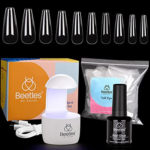 Beetles Nail Tips and Glue Gel Kit, 2 In 1 Nail Glue and Base Gel with...