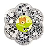 Bastelbär Astuccio di 600 Adesivi Occhi spalancati - Occhi di Diverse Dimensioni
