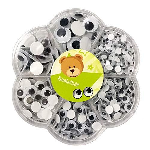 Bastelbär 600 Wackelaugen groß mittel klein / Kulleraugen selbstklebend / Wackelaugen selbstklebend groß / Klebeaugen selbstklebend - 600 Augen zum Basteln