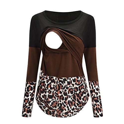 Camiseta de Lactancia Manga Larga Camisas Leopardo Ropa Embarazadas Otoño Invierno Basica Tops Cuello Redondo encage Blusa de Mujer Maternidad café XXL