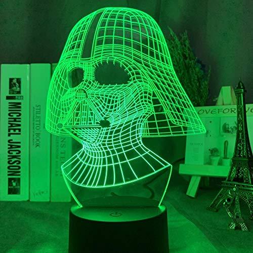 Lámpara LED 3D de ilusión de 16 colores de conversión de luz Vader cara 3D LED luz nocturna para decoración de dormitorio infantil USB y funciona con pilas para lámpara de noche para niños