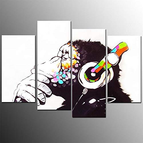 Aehoor Novel Bilder Art 4 Teile Orangutan Leinwand Wandkunst Bild HD Anime Druck Deko Zuhause Dekorationen Bar Vlies Wall Wandbilder Wohnzimmer Kunstdrucke Poster Modern 40x80x2/40x100x2 Frame