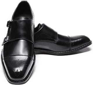 [ジョイジョイ] ビジネスシューズ 紳士靴 ロングノーズ ドレスシューズ ダブル モンクストラップ 通気 3E クラシック オフィスシューズ 黒 ブラック メンズ 革 防滑 メダリオン スクエアトゥ 歩きやすい 結婚式 幅広