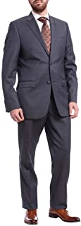 Slim Fit Navy Blue Pindot Two Button Wool Suit