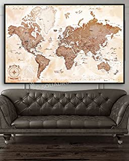 The Aviator's Map - Push Pin Travel Map with Floating Black 32 x 48