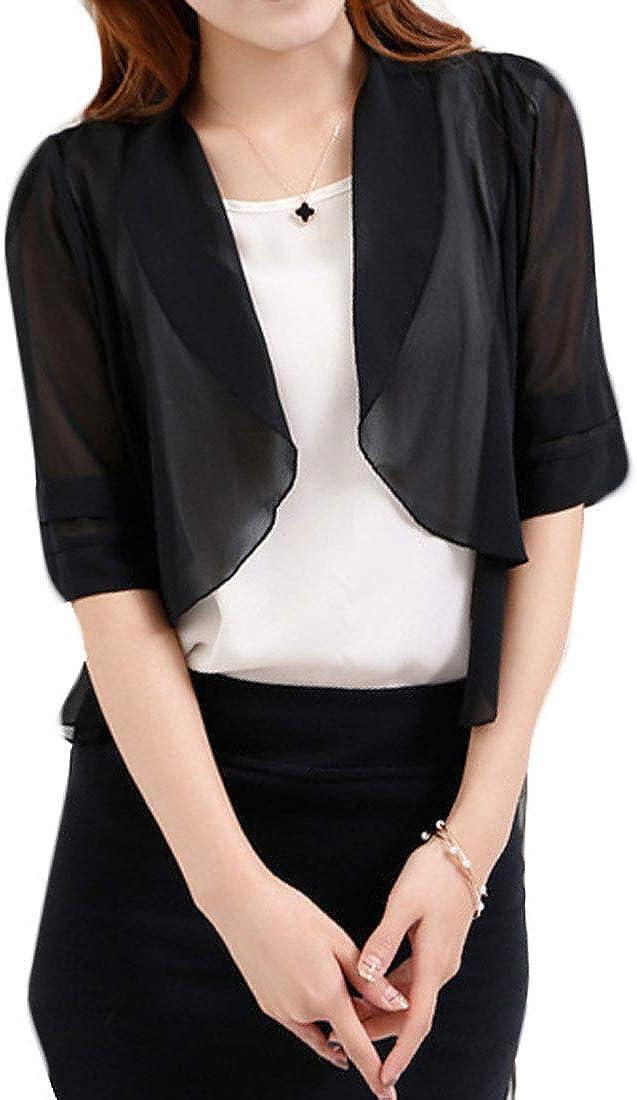 XTX Womens Open Front Crop Jacket Kimono Cardigans Chiffon Shrug Plus Size Shrugs Bolero Cardigan Black 4XL