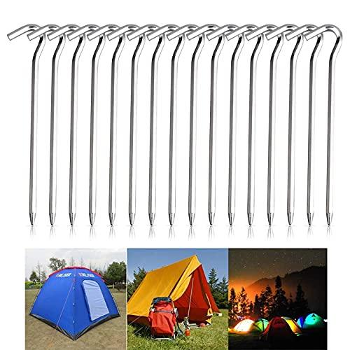 KOIROI Piquetas para tienda de campaña, 16 unidades, piquetas, clavos de tierra, clavos de metal, de alto rendimiento para tiendas de campaña, clavos de jardín, ideal para toldos de camping