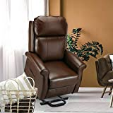 Esright Electric Power Lift Recliner Chair, Faux Leather Electric Recliner for Elderly with Heated Vibration Massage, Side Pocket & Remote Control, Brown