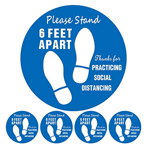 Social Distancing Floor Decals Stickers, 5 PCS Removable 11' Round 6 Feet Apart Sticker for Warning Crowds for Keeping Safe Distance(Blue, 5 PCS)
