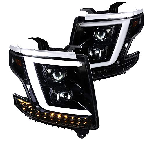 Spec-D Tuning for Chevy Tahoe Suburban Jet Black Projector Headlights w/LED+Turn Signal Lamps