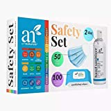 Artnaturals Mask, Wipes & Sanitizer Set - Disposable Face Masks, Hand Sanitizer and Sanitizing Wipes - Personal Cleansing Safety Kit for The Office, Car, Home, Travel and School
