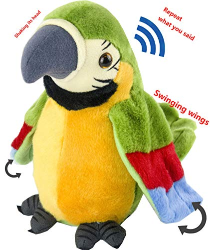 Magical Imaginary Talking Parrot Toy-Electronic Animal Plush Toy/Mimics and Repeats After Words&Sounds for Kids , Birthdays, Christmas(Green)