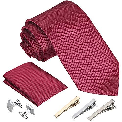 Rovtop Cravatta Uomo, 4 Stili, con 1 Fazzoletto, 2 Gemelli, 3 Fermacravatta, Regalo per Il Fidanzato, Scelta Migliore per Il Regalo del pap¨¤