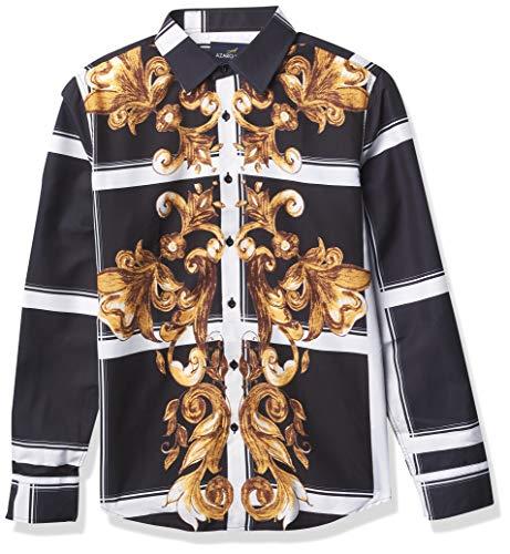 Azaro Uomo Camisa de Vestir Brillante para Hombre, sin Arrugas, Informal, con Botones, Tesoro de Oro, 3X-Large