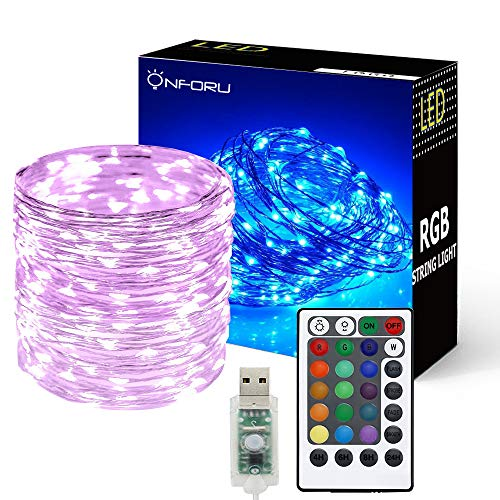 Onforu 33ft RGB Fairy Lights, 16 Colors Changing led Lights, 100 LEDs String Lights with Remote & Timer, IP65 Waterproof Starry Lights with USB Powered for Outdoor,Bedroom, Parties, Christmas Decor