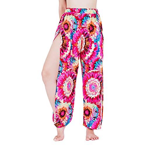Lofbaz Pantalones de Yoga Harem de Corte Alto Mujeres Pijamas de salón Sexy Pantalones de chándal de Entrenamiento Strawflower Rosa M