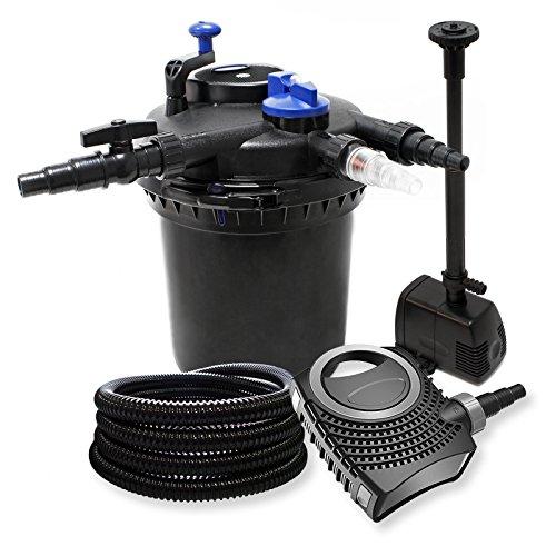 Kit Filtration à Pression: 30000l Filtre, 18W UVC Stérilisateur, 70W Pompe, Tuyau et Pompe Fontaine